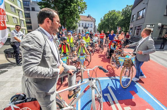 KORTRIJK: Opening van de eerste en grootste fietszone van het land in Kortrijk.