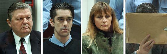 Michel Nihoul, Michel Lelievre , Michelle Martin en Dutroux tijdens het proces in 2004.