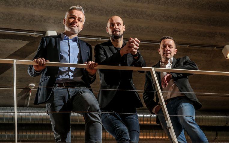 De drie presentatoren die woensdag alles in goede banen leiden: Maarten Breckx, Tom Boonen en Merijn Casteleyn.