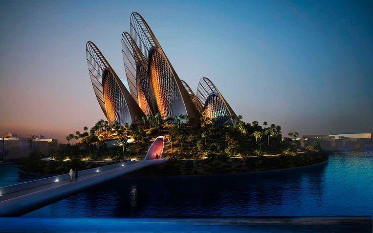 Artist's impression van het Zayed National Museum in Abu Dhabi. Beeld