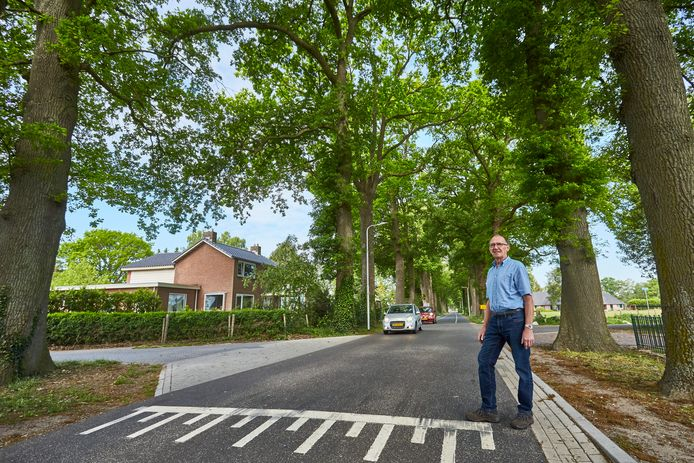 Jan Eggink bij het plateau voor zijn huis in Laren. Vrachtwagens en auto's met aanhangers denderen hier met veel lawaai voorbij sinds de herinrichting van de onveilige Ooldseweg.