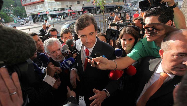 Pedro Passos Coelho van de centrumrechtse PSD heeft de verkiezingen gewonnen Beeld epa