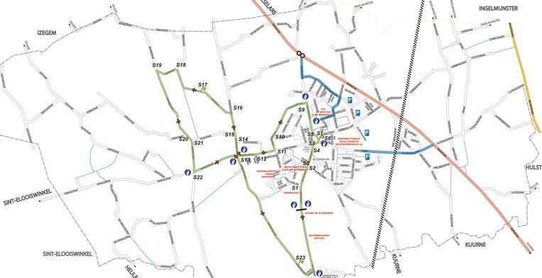 Het parcours voor het BK voor nieuwelingen in Lendelede nu zondag.