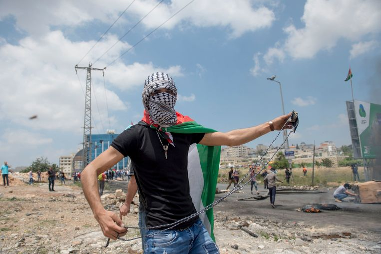 Palestijnse demonstranten, Ramallah, 15 mei 2018.  Beeld Photo News