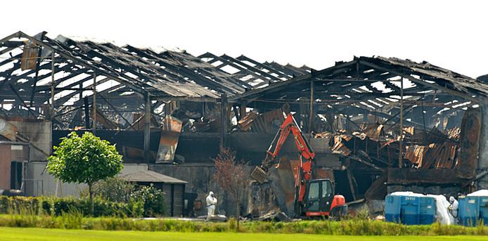 De brand van 27 juli 2017 verwoestte alle varkensstallen van De Knorhof in Erichem.