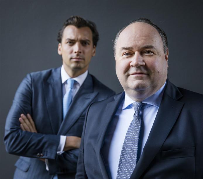 Portret van Forum voor Democratie-leider Thierry Baudet en Henk Otten, de lijsttrekker voor de Eerste Kamer van hun partij.