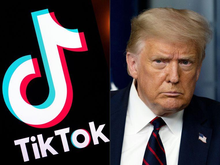 De Amerikaanse president Trump (rechts) en het logootje van TikTok.