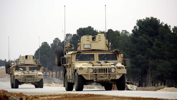 Hummers van de Amerikaanse strijdkrachten in Syrië.