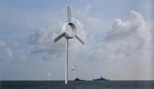 Nederlandse megamolen mooi klein voor Hollandse kust