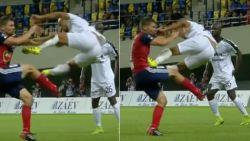 Nú al de aanslag van het seizoen? Champions League schouwtoneel van waanzinnige vliegende tackle