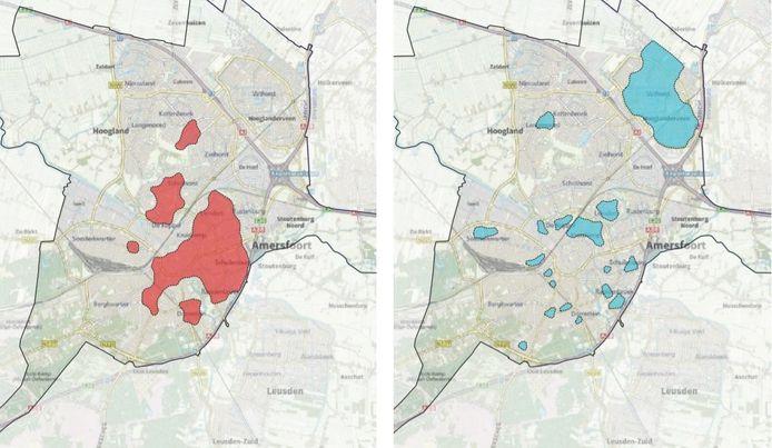 De rode gebieden op de kaart zijn volgens de gemeente geschikt te maken voor een collectief warmtenet, voor de blauwe gebieden kan beter gebruik worden gemaakt van zonne-energie of elektrische warmtepompen.