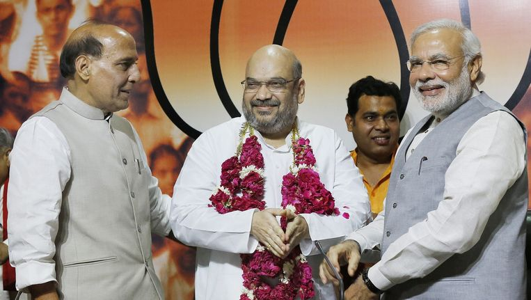 Rajnath Singh, minister van Binnenlandse Zaken (links, de voorzitter van BPJ Amit Shah en de Indiase minister-president Narendra Modi. Beeld epa