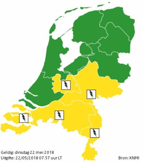 KNMI geeft code geel af voor zuiden en oosten