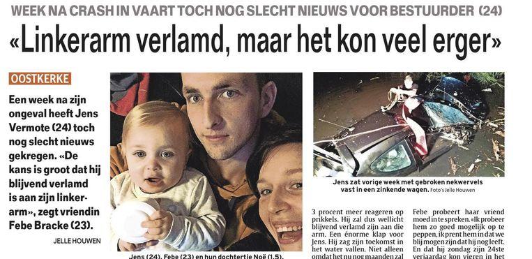 Het artikel in onze krant ten tijde van het ongeval.