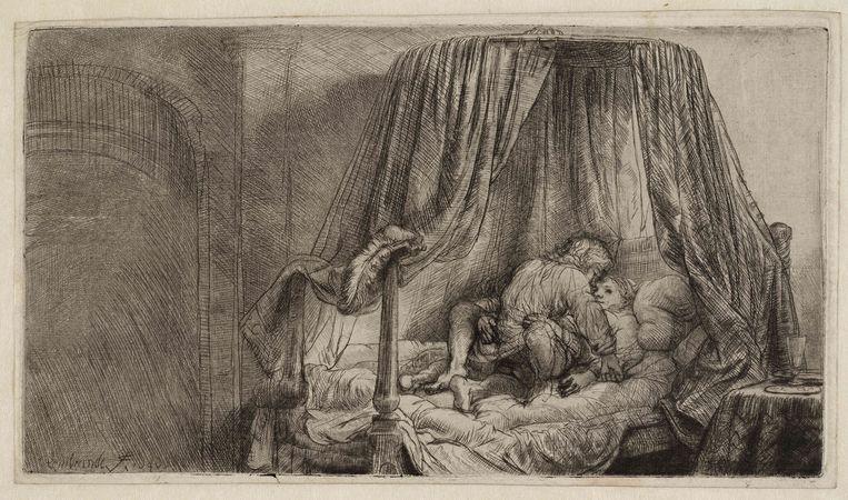 Rembrandt van Rijn, Het ledikant, 1646, Teylers Museum Haarlem  Beeld