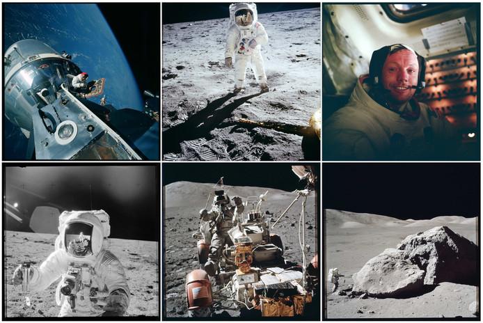 Door NASA vrijgegeven foto's van de Apollo-maanmissies.
