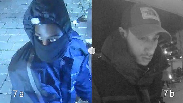 De nog niet opgepakte dader (l) en handlanger (r) van de plofkraak op 23 december. Beeld Politie Amsterdam
