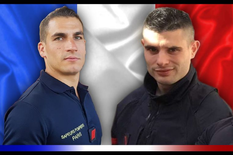 Brandweermannen Simon Cartannaz (28) (l) and Nathanael Josselin (27) liet het leven bij de explosie.