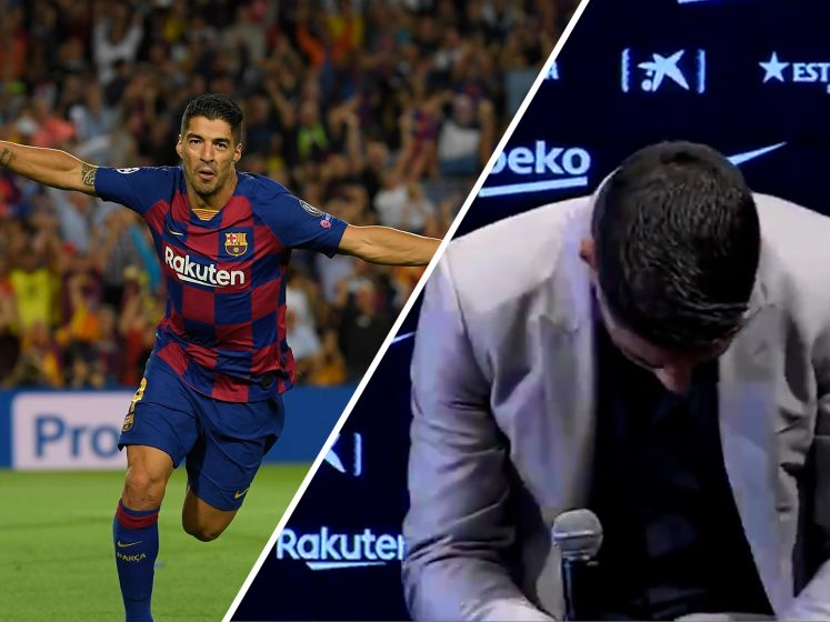 De emoties lopen hoog op bij Luis Suárez bij afscheid van Barcelona