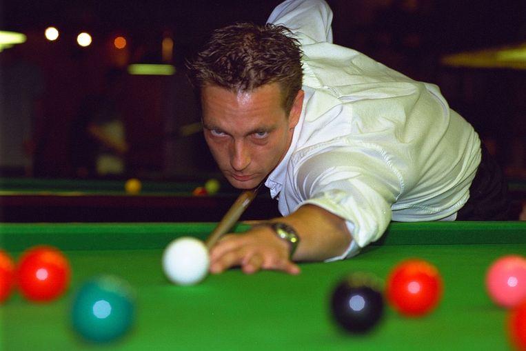 Snookerkampioen Steve Lemmens tijdens zijn hoogdagen in 2000.