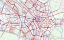 Op deze wegen wordt gestrooid in Utrecht. De autowegen zijn rood, de fietspaden blauw.