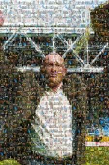 Mister Vitesse Theo Bos in een mozaïek met 282 foto's van zijn supporters