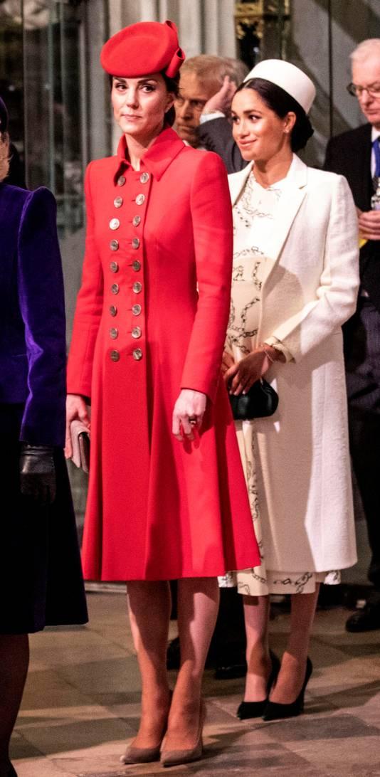 Kate Middleton et Meghan Markle, à l'abbaye de Westminster, le 11 mars.