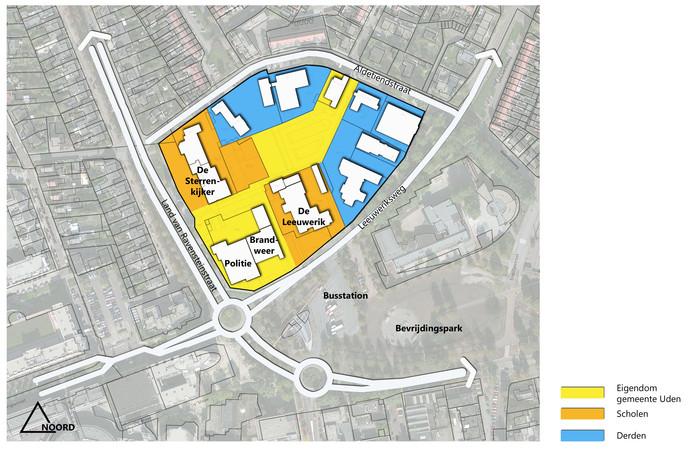 Zeker als behalve brandweer en politie (geel) ook de scholen(oranje) verdwijnen komt er een enorm gebied vrij aan de rand van het centrum in Uden.