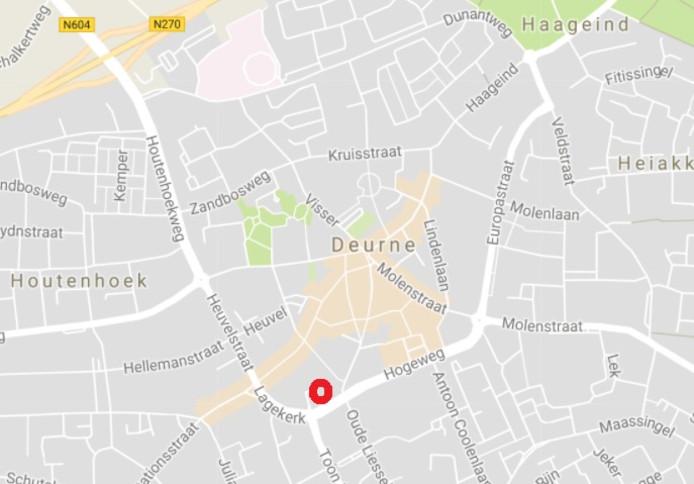 De locatie van het nieuwe complex aan de Lagekerk in Deurne.