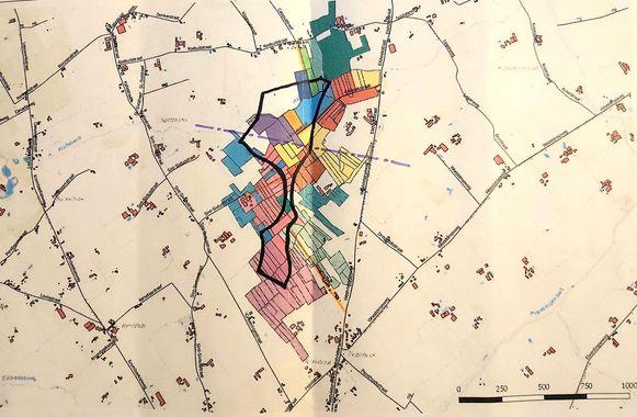 Het gebied tussen de Pezelhoek in Poperinge en de Koekuit in Vleteren (zwart omlijnd) zou een gepast gebied zijn voor een toekomstig windmolenproject.