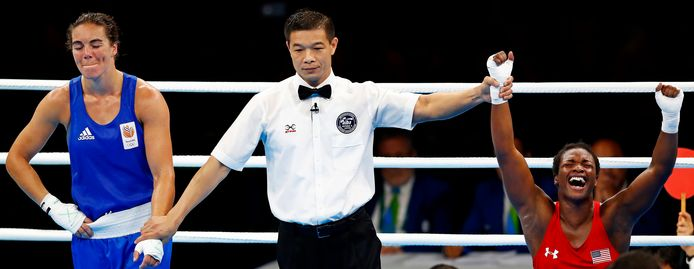Olympische Spelen Rio de Janeiro 2016 Nouschka Fontijn baalt als Shields tot overwinnaar wordt gekroond. Finale boksen Foto ; Pim Ras