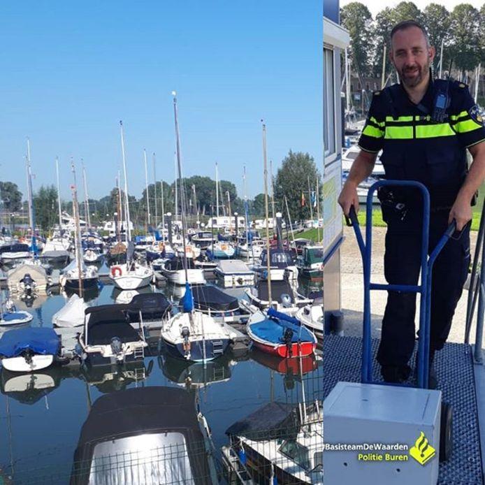 De politie vond de kluis met volledige inhoud terug na een inbraak bij de havenmeester van de jachthaven van Culemborg.