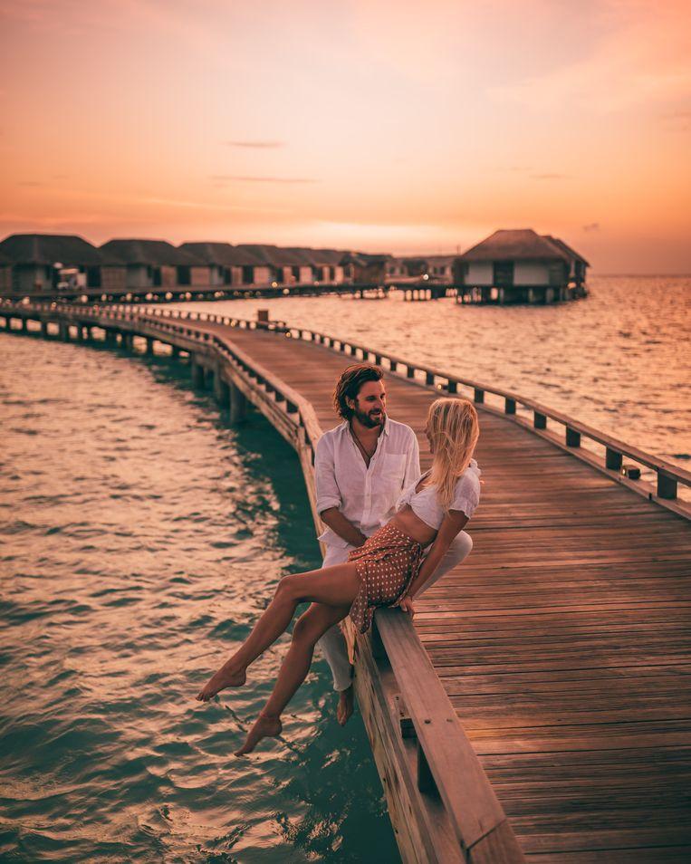 Camille en Jean tijdens hun reis naar de Maldiven.