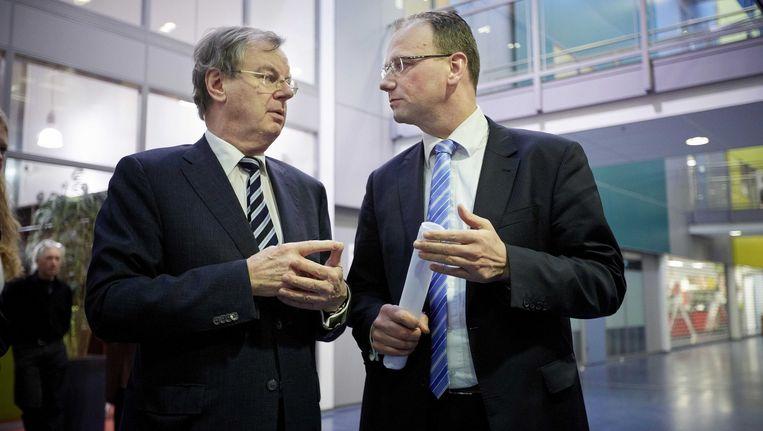 April vorig jaar konden FNV-voorman Ton Heerts en VNO-NCW-voorzitter Bernard Wientjes het nog prima met elkaar vinden Beeld ANP