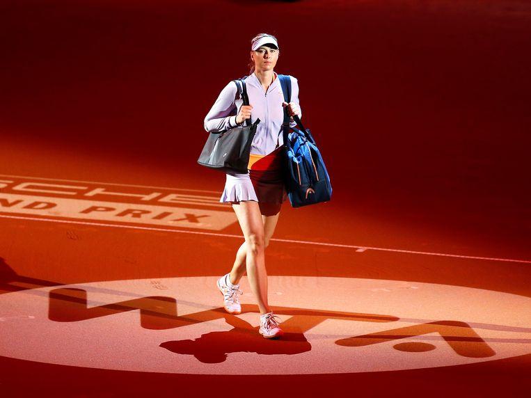Maria Sharapova in Stuttgart voor haar eerste wedstrijd na haar schorsing.