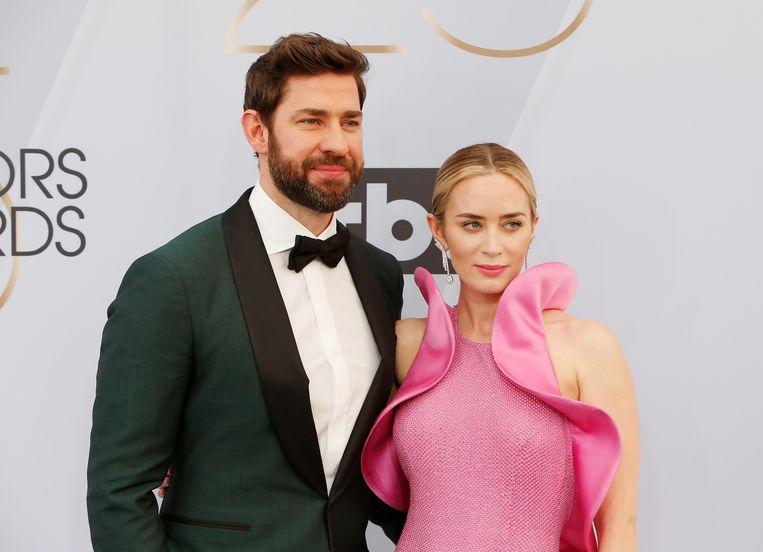 Emily Blunt en echtgenoot John Krasinski tijdens de SAG Awards afgelopen zondag.