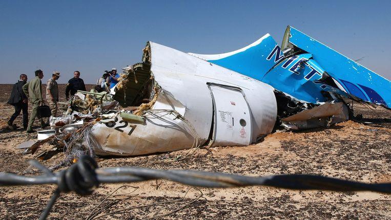 Een brokstuk van de Airbus A321 van Metrojet. Beeld epa