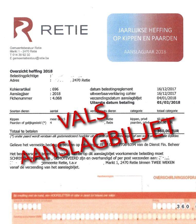 Het valse aanslagbiljet. De tekst 'vals aanslagbiljet' heeft de gemeente aangebracht voor publicatie.