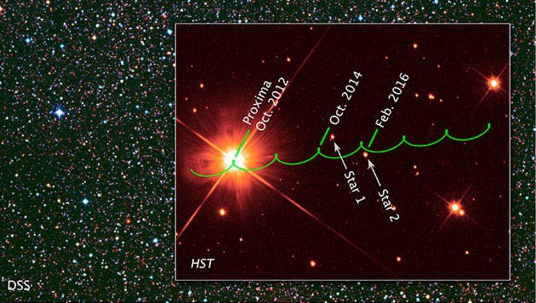 De beweging van Proxima Centuari door de tijd, waarbij te zien is hoe hij eind 2014 en begin 2016 langs twee heldere sterren vaart Beeld NASA & ESA