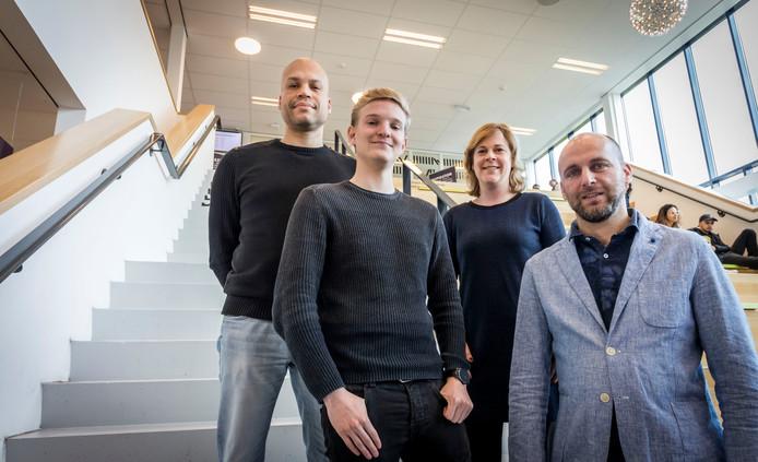 Studentenpsycholoog Marco de Wind, student Remco Helminck, consultant Esther Tonnaer en docent Tom van den Eertwegh (vlnr).