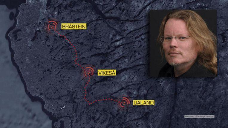 Beeld van de uitzending, met de drie masten Beeld Screenshot Åsted Norge/TV2