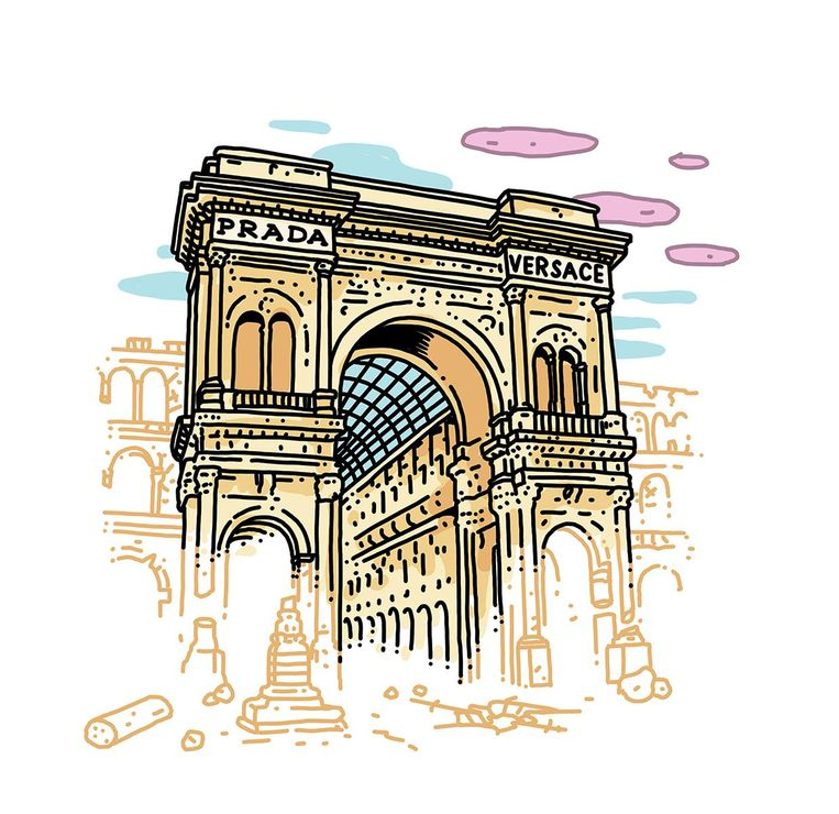 Monument: Galleria Vittorio Emanuele II, Milaan. Opgeknapt door: Prada en Versace. Bedrag: 3 miljoen euro. 2014-2015. Beeld Olivier Heiligers