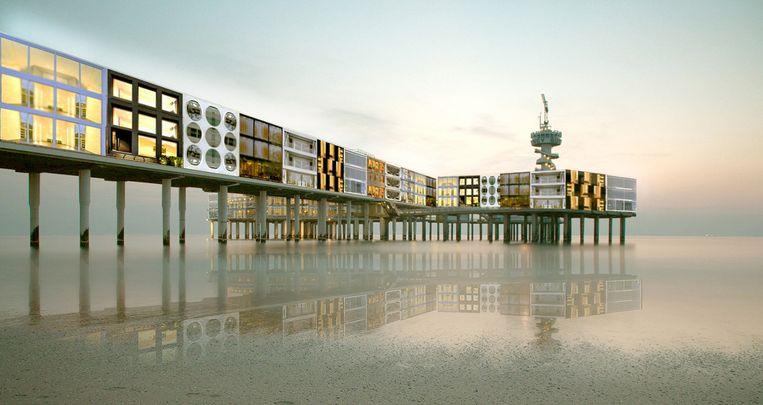 Impressie uit 2014 voor aanpak van de huidige Pier, in opdracht van de nieuwe eigenaren KondorWessels en DanZep. Beeld Menno Kooistra Architects