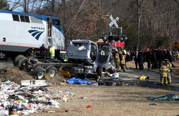 Woensdag botste een trein op een vuilniswagen.