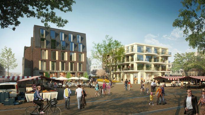 Een impressie van het plein tegenover kasteel Wijchen over vijf, zes jaar, met hotel en nieuw plein voor de weekmarkt.