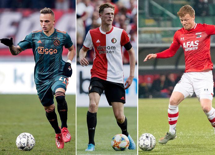 Waar Ajacied Noa Lang (links) en AZ-speler Fedy Druijf via de Keuken Kampioen Divisie het eerste haalden, moet Feyenoorder Wouter Burger het doen met potjes in de beloftencompetitie.