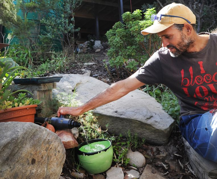 Kelson da Cruz toont de kraan die water uit zijn regenton zijn tuin in leidt in Scarborough nabij Kaapstad. Beeld Brenton Geach