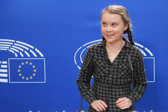 De 16-jarige Greta Thunberg vandaag in het Europees Parlement.