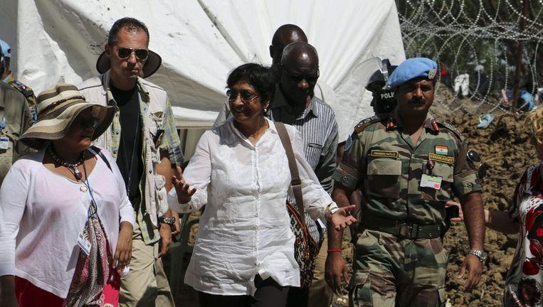 De Hoge Commissaris voor de Mensenrechten van de VN, Navi Pillay op bezoek in Zuid-Sudan. Beeld afp