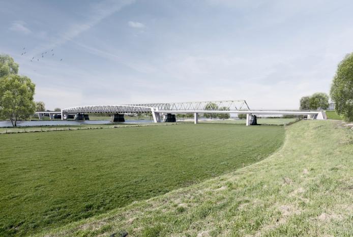 De nieuwe fietsbrug, gezien vanaf de Mookse kant.
